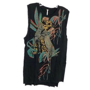 Free People Black Jungle Bay Tunic w/Embroidery M